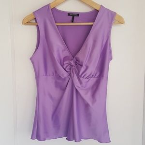 Silky lavender knotted-front tank